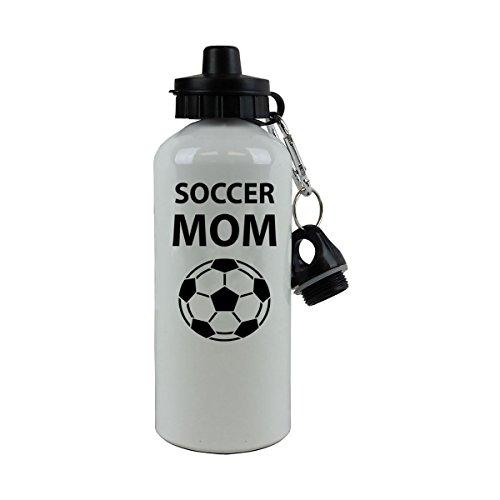 Personalized Custom Soccer Mom Aluminum White Finish 20 Ounce 600ML Sport Water Bottle Customizable