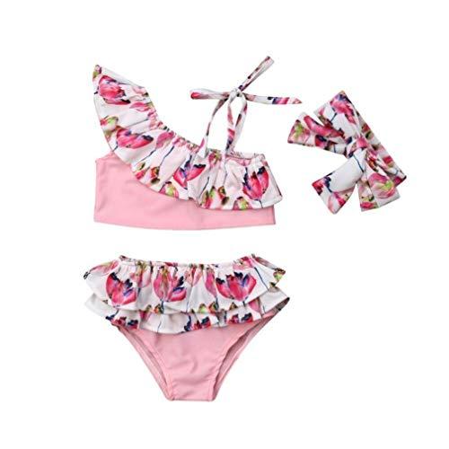 Tsavm Baby Girl Swimwear Flower Print Ruffle Bikini Set Lovely Summer Beachwear Pink