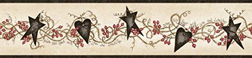 Chesapeake CTR65172B Paxton Black Tin Hearts and Stars Wallpaper Border
