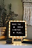 Premium Felt Letter Board with 20 Built-in LED Lights, 10 x 10 Black, with Wood Frame, Stand, Hook Mount, Changeable Characters, Numbers, Symbols, Emojis in Gift Box