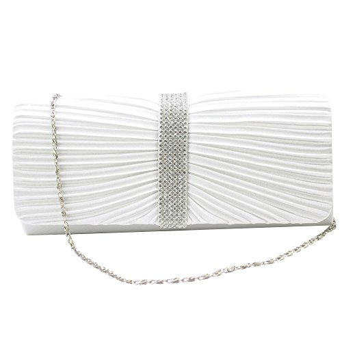 WOMENS Elegant LADIES EVENING BRAND BRIDAL Crystal PARTY DIAMANTE NEW Satin CLUTCH PROM WEDDING SPARKLY Wocharm BAG White TM qIC6X
