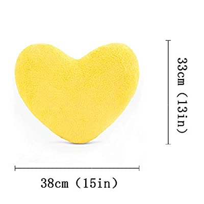 YINGGG Cute Plush Red Heart Pillow Cushion Toy Throw Pillows Gift for Kids' Friends/Children/Girl/Valentine's Day Fit for Living Room/Bed Room/Dining Room/Office and Sofa/Cars/Chairs (Yellow): Home & Kitchen