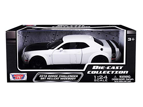 2018 Dodge Challenger SRT Hellcat Widebody White with Black Hood 1/24 Diecast Model Car by Motormax 79350w ()