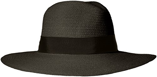 Trim Millinery (ale by Alessandra Women's Terranea Toyo Fedora with Ribbon Trim and Rated UPF 50+, Black, One Size)