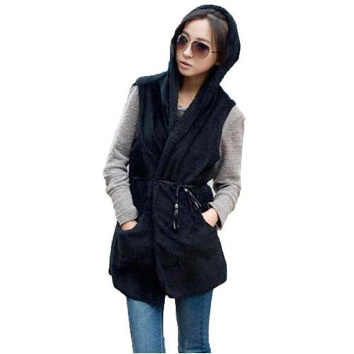 Imixcity®Women's Hooded Black Jacket Vest Furry Long AqwBY8