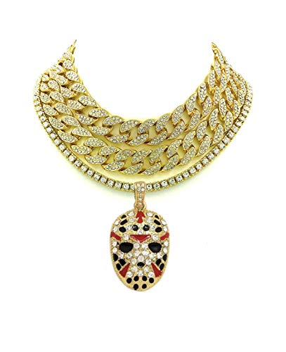 Cuban Pendants - Shiny Jewelers USA Mens Iced Out Rapper Mask Hip Hop Pendant 1 Row CZ Tennis Miami Cuban Link Chain Necklace (2 CZ Cuban/1 Row Gold 16