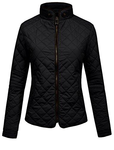 J.LOVNY Womens Lightweight Quilted Zip Jacket with pocket details , Jlwj22-black, Medium