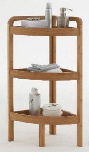 3 TIER BAMBOO WOODEN CORNER SHELF/UNIT/STORAGE BATHROOM LIVING ROOM ETC