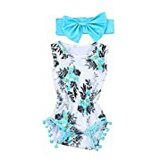 Wesracia Toddler Baby Girls Summer Floral Romper+Headband Clothes Set (6-12M)