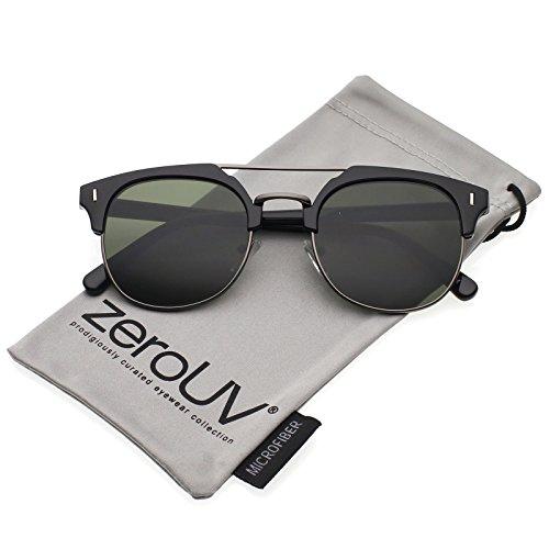 zeroUV - Classic Horn Rimmed Crossbar Round Flat Lens Half Frame Sunglasses 50mm (Black-Gunmetal/Green)