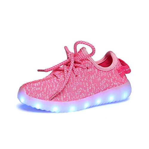 iBaste Niños Zapatos de Moda Zapatos Casuales Zapatos de Coco Luminosos LED Recargable Colores Rosa