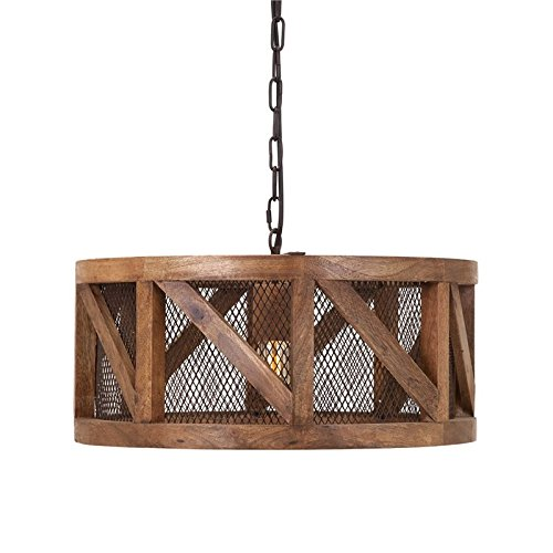 IMAX 73368 Kennedy Wood and Wire Pendant Light 20 x 85 x 20