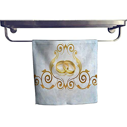 HoBeauty home Beach Towel,Vintage Style Victorian Ornaments on Blue Backdrop Rings Classical Light Blue Gold ,Luxury Towels Highly Absorbent Extra Soft W 10