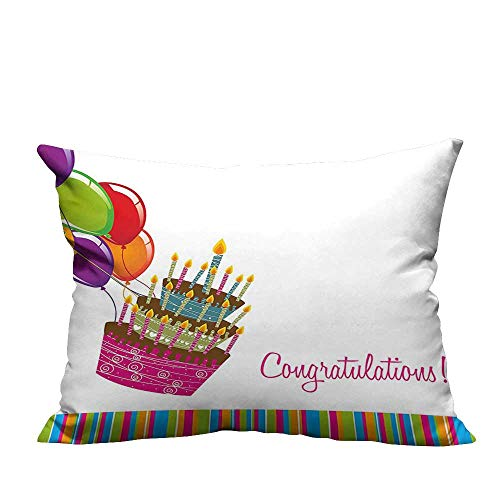 YouXianHome Home DecorCushion Covers Pink Written Congratulations Embellished Graphic Cake Candles Balloons Comfortable and Breathable(Double-Sided Printing) 11x19.5 inch