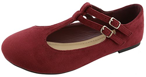 Top Moda Donna Chiusura Tonda Mary Jane Fibbia Double T-strap Balletto Vino Light Flat