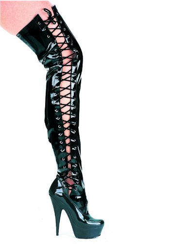 Womens 6 Inch Pointed Stiletto Thigh High Stretch Boots With Side Laces (Black;12) 7ASCP8pq