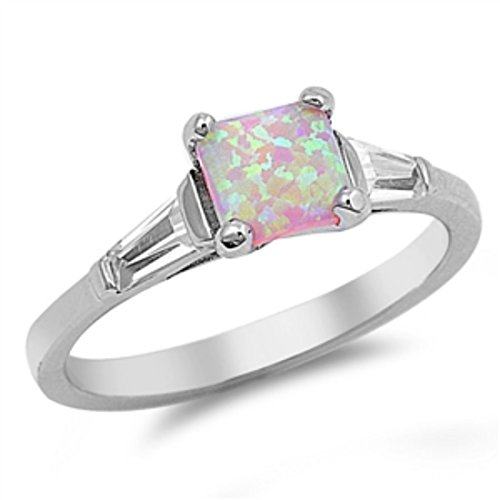 Princess Cut Square Lab Created Pink Opal Ring Baguette Cubic Zirconia Solid 925 Sterling Silver Fashion ()