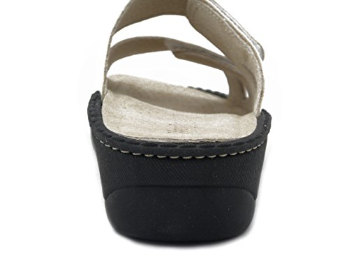 Westlake sandalo in pelle laminato argento, sottopiede estraibilie,1011 E17