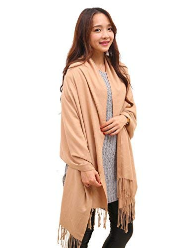 Anboor Super Soft Cashmere Blanket Scarf with Tassel Solid Color Warm Shawl for Women,Khaki