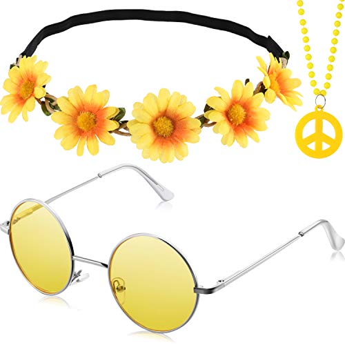3 Pieces Hippie Costume Party Accessories Set includes Peace Sign Bead Necklace, Flower Crown Headband, Hippie Sunglasses for Adults ()
