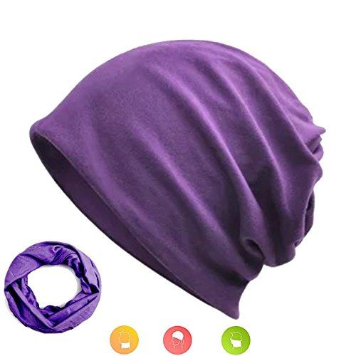 W&Y YING Cotton Three-Ways Thin Soft Men Women Purple Beanie Hat Skull Cap(Dark - Long Beanie Purple