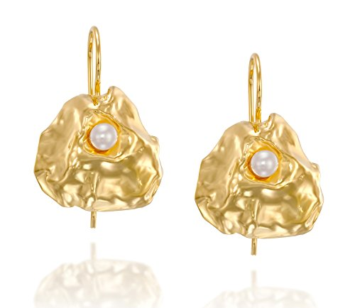 Exquisite Free Form 14k Gold Plated Cultured Pearl Earrings With Secure Backs Bridal Wedding Jewelry (Pearl Earrings Hook Silver Vermeil)