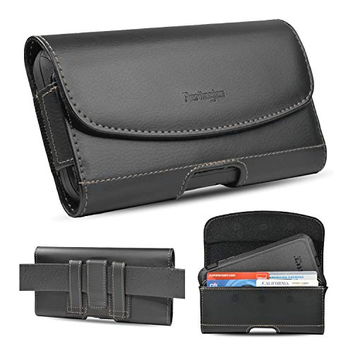 Perilogics iPhone 8 Plus, 7 Plus, 6s Plus Belt Holster for Bulky Case. Chestnut Stitching On Black PU Leather. Strong 3 Magnets Closure. Reinforced Belt Loops with ID Card Slot. (for Rugged Case)