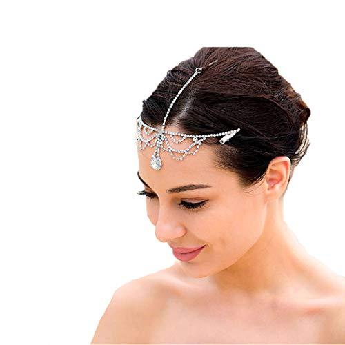 Campsis Bridal Silver Crystal Pendant Headband Wedding Headpiece Fashion Tiara for Women and Girls (MXZ01)