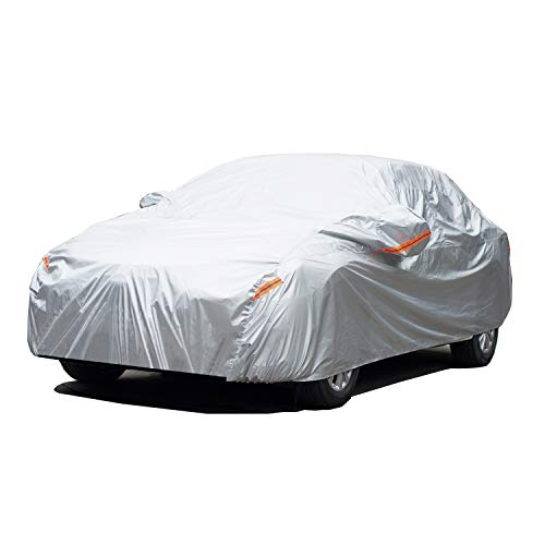 GUNHYI Oxford Car Covers Waterproof Windproof All Weather for Automobile, Snow Sun Rain UV Protective Outdoor, Fit Sedan (Length 180-191 Inch) (Best Car Cover For Snow And Rain)