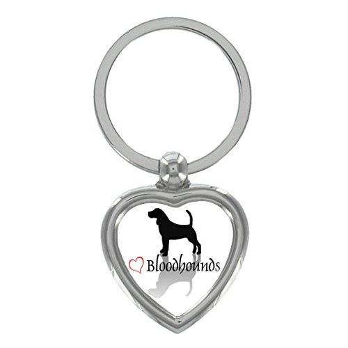 Stylish Heart Bloodhound Metal Heart Shape Keyring in Gift Box