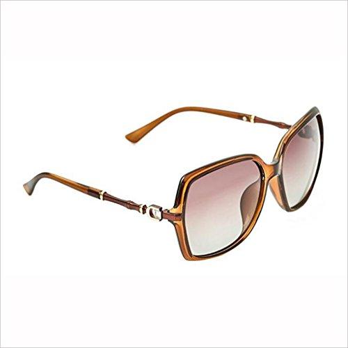 Palabra Sección Colorido 3 HOME Color Gafas D 4 bambú Rhinestone de Marco Mujer Sol Conducir polarizada Luz de Gran Gafas Moda QZ z71qnqa