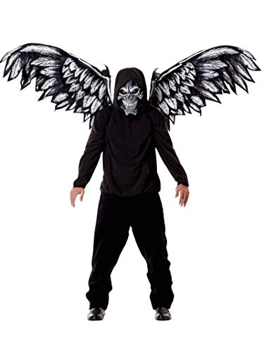 Halloween Fallen Angel Wings (California Costumes Unisex-Adult's Fallen Angel Mask & Wings, Black, One)