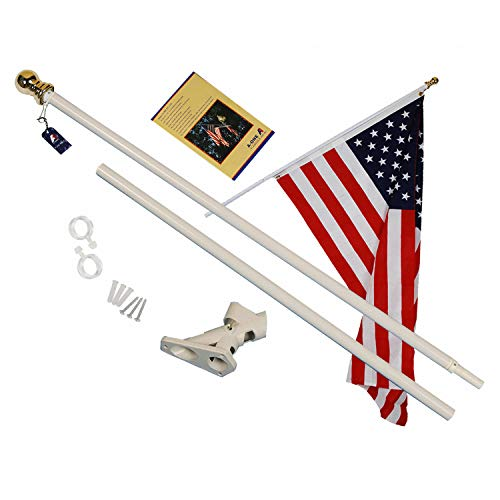 Deluxe Flagpole - A-ONE 6Ft Tangle Free Spinning Flag Pole, Deluxe Aluminum American US FlagPole with Stainless Steel Rust Prevention Clip and Free Bracket for Outdoor Residential or Commercial Wall Mount, White