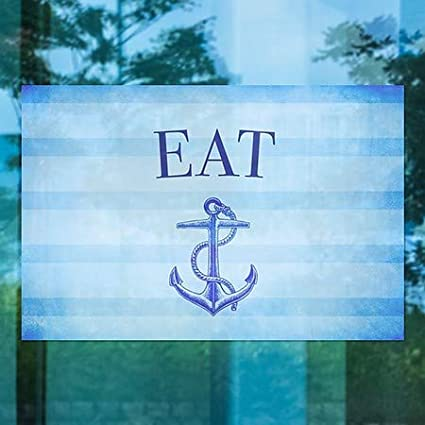 CGSignLab Eat 36x24 Nautical Stripes Window Cling