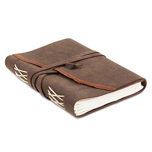 Rustic Leather Writing Journal with Handmade Recycled Cotton Paper, Gift Boxed for Men Women, use as a diary, journal, Artist sketchbook (5 x 7, ()
