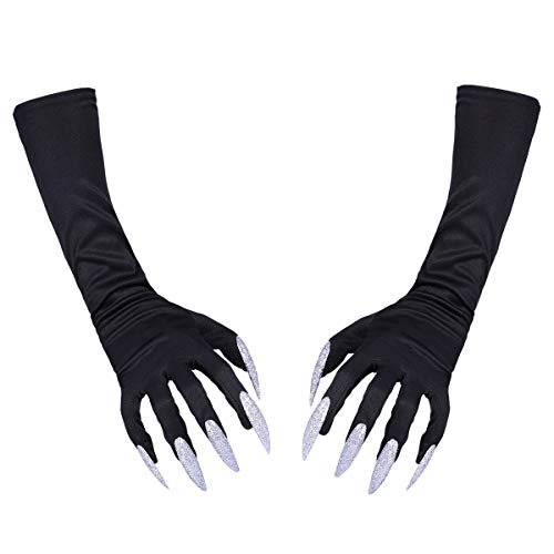 TINKSKY Halloween Costume Gloves Attached Long Fingernails 1 Pair (Black)]()