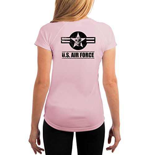 (Dead Or Alive Clothing Women's U.S. Air Force UPF 50+ Short Sleeve T-Shirt X-Large Pink Blossom)