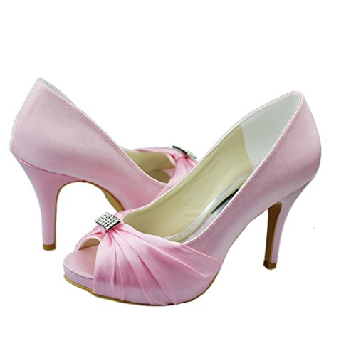 Minitoo GYAYL312T Womens Stiletto High Heel Open Toe Satin Evening Party Bridal Wedding Ruched Shoes Sandals Pink y0suS