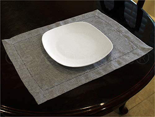CleverDelights 6 Pack Hemstitched Placemats - 14