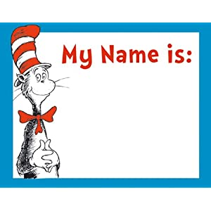 Eureka Dr. Seuss Cat in the Hat Adhesive Name Tags, Package of 40 ...