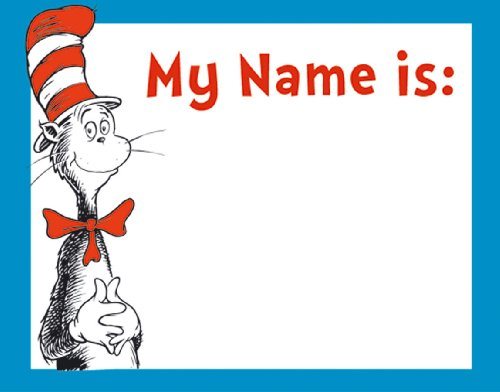 Eureka Dr. Seuss Cat in the Hat Adhesive Name Tags, Package of 40 (659750)