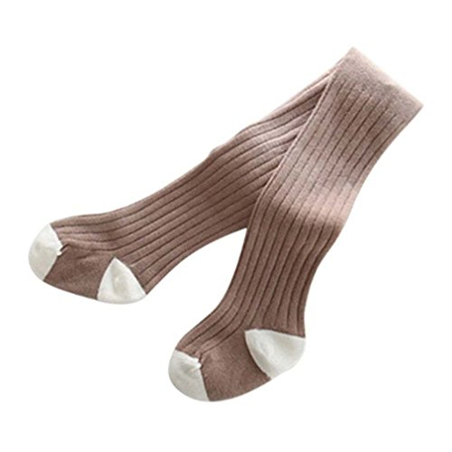 Girl's Cotton Knitted Solid Pantyhose Kids Child Girl Hosiery Baby Stockings Brown ()