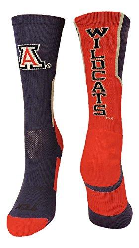 TCK Sports Arizona Wildcats Perimeter Crew Socks (Cardinal/Navy/Grey, Small)