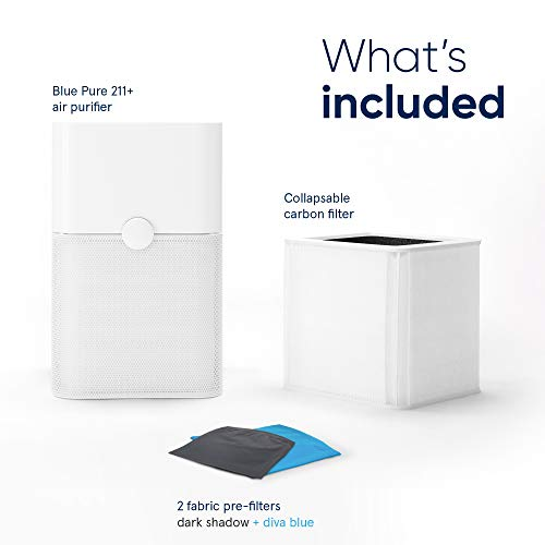 Blueair Blue Pure 211+ Air Purifier 3 Stage with Two Washable Pre-Filters, Particle, Carbon Filter, Captures Allergens, Odors, Smoke, Mold, Dust, Germs, Pets, Smokers, Large Room
