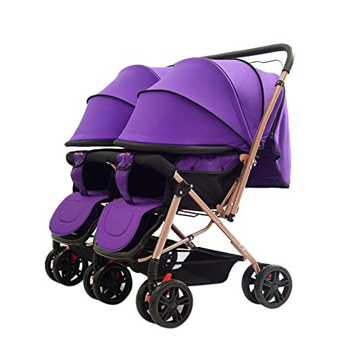 Twins and Twin Strollers- Tandem Double Pushchair from Birth- Reversible Seat Convertible to Carrycot- Lightweight with Convertible Bassinet Stroller- Extended Canopy/Large Storage Basket