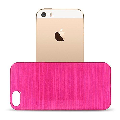 iPhone SE, 5S, 5 Silikon Hülle, Conie Mobile Brushed Case Schlanke Schutzhülle TPU Handyhülle Backcover Rückschale in Pink