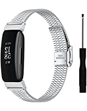 Ace 2 Bracelet, MVRYCE Unique Stainless Steel Adjustable Strap Quick Release Replacement Band Metal Bracelet Watch Band Compatible with Inspire/Inspire HR/ACE 2 Smart Watch (Silver)