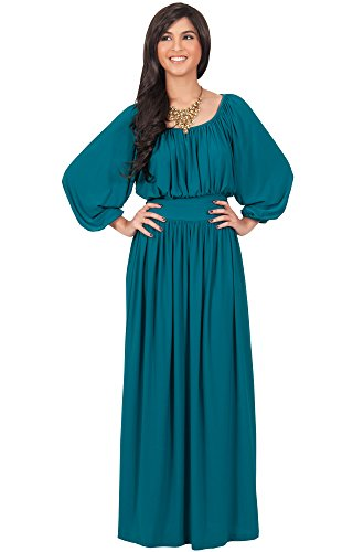 KOH KOH Womens Long Sleeve Sleeves Vintage Peasant Empire Waist Fall Loose Flowy Fall Winter Casual Maternity Abaya Gown Gowns Maxi Dress Dresses, Blue/Green Jade L 12-14