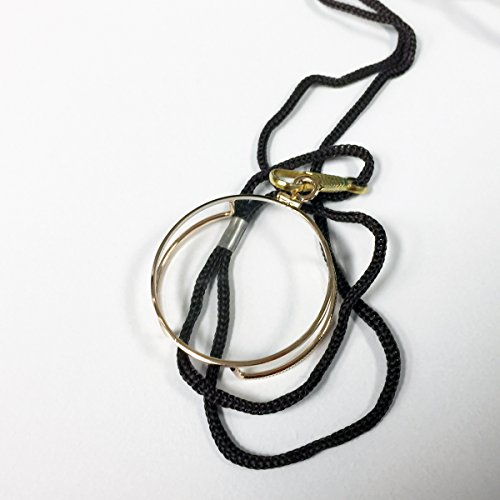 Monocle Reader with Gold/Silver Metal Plated Trim, +2.00 power, nylon cord necklace (Gold)
