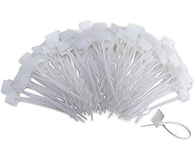 Nylon Marker Cable Ties, 250pcs 6 Inch Self-Locking Cord Tags Marker Label with Write on Cable Tag, Ethernet Wire Zip Ties Power Marking Label